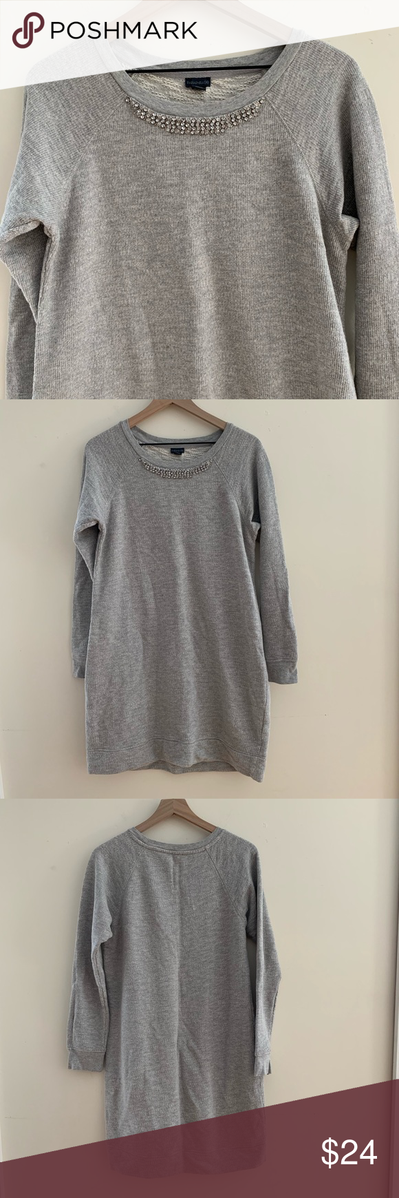 Paraphrase Sweatshirt Dres With Necklace Detail Heather Grey Never Worn Dresses Dress