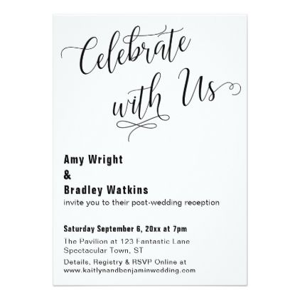 Celebrate with us typography post wedding event card modern style idea design custom