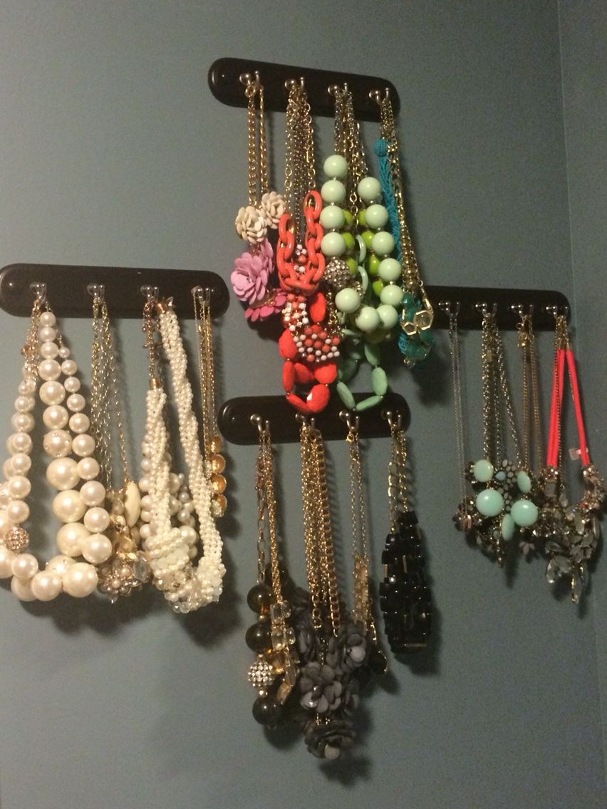 Statement Necklace Storage using Key Hooks from Bed, Bath ...