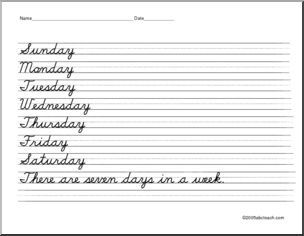 cursive handwriting handwriting practice writing days of the week abcteach cursive. Black Bedroom Furniture Sets. Home Design Ideas