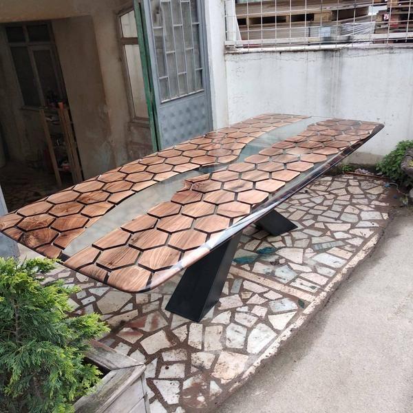 Custom order for Lauren Hexagon TableHoneycomb table walnut | Etsy