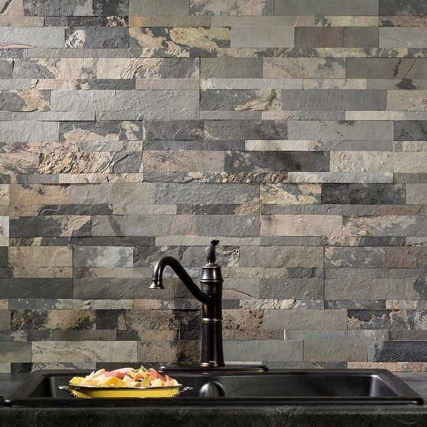 Aspect Stone 6in X 24in Peel And Stick Tile In Medley Slate At Menards Stone Backsplash Kitchen Backsplash Peel And Stick Kitchen Tiles Backsplash