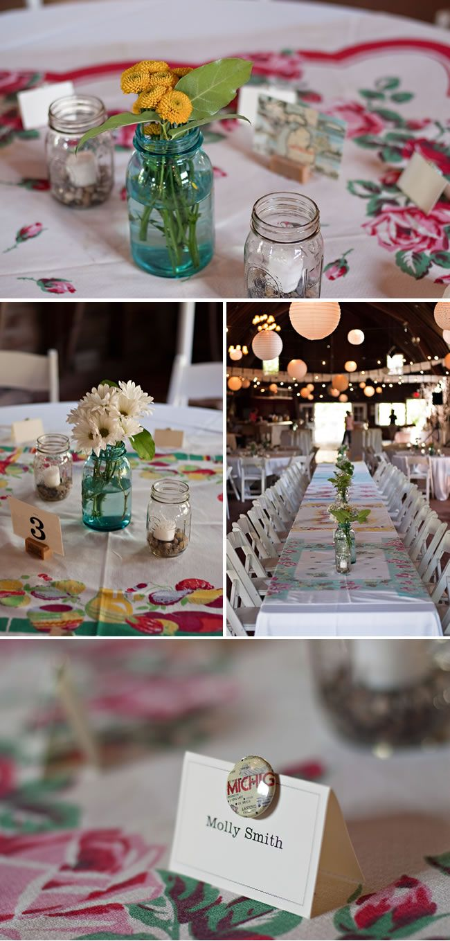 Diy vintage wedding decoration ideas  Digging the vintage tablecloths and have a few myself so this