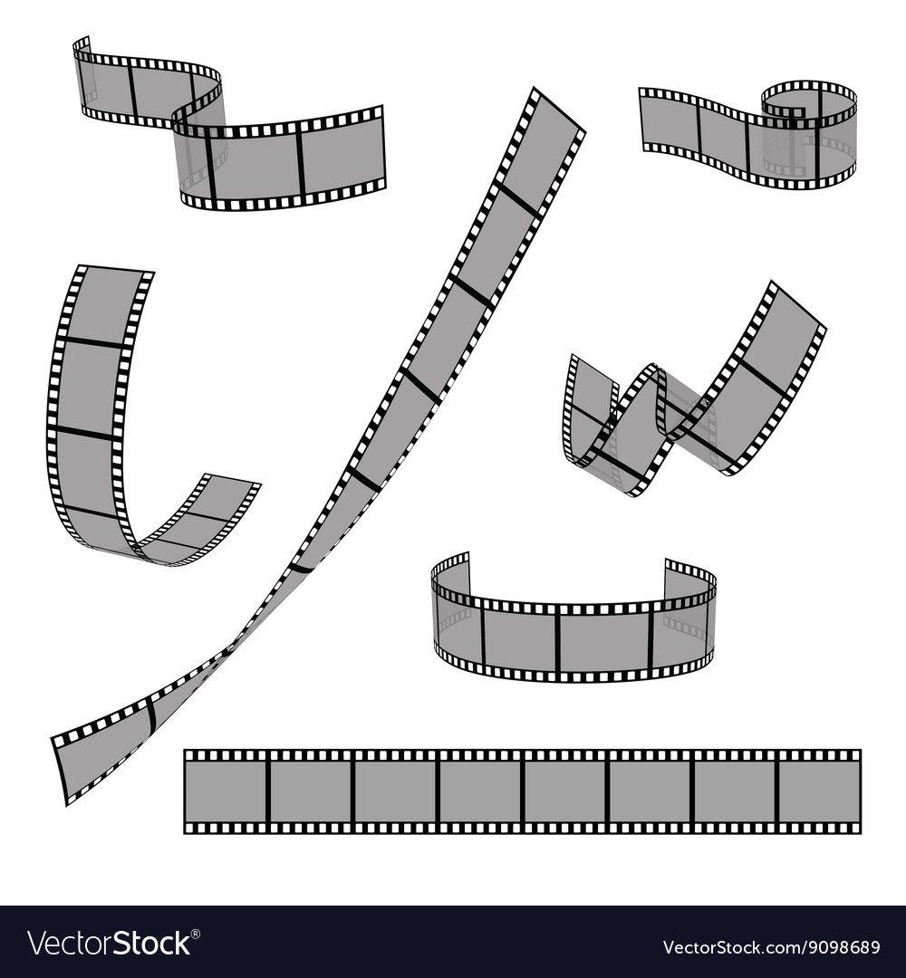 Cinema film strip roll 35mm blank slide frame vector set. Frame ...