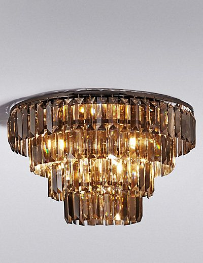 Mia 4 Tier Baguette Crystal Flush Ceiling Light M Amp S Flush Ceiling Lights Ceiling Lights