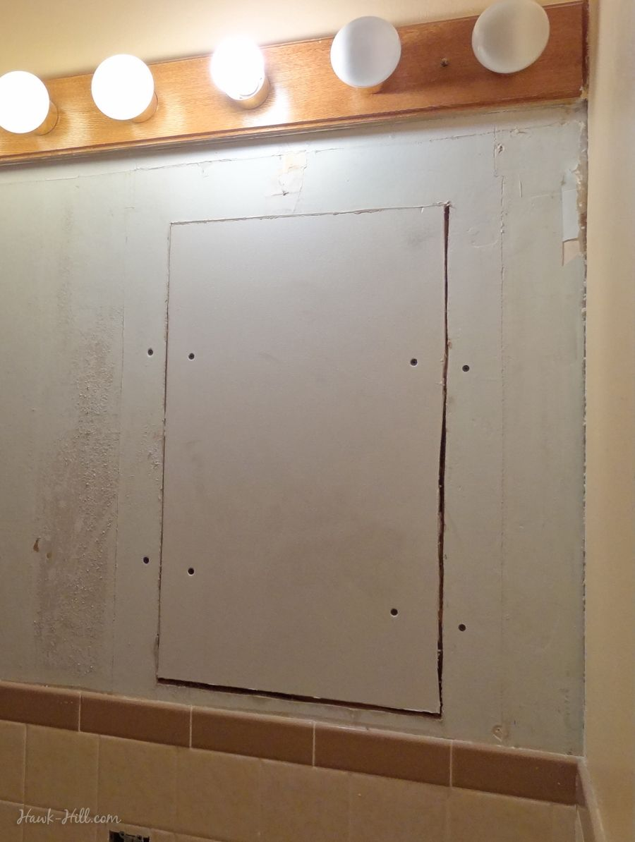 DIY Drywall Repair Where Large Medicine Cabinet Was Removed From - Bathroom drywall repair