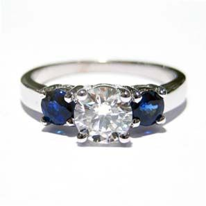 3 Stone Ring With Diamond Center And Blue Sapphire Side Stones