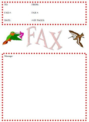 Two Colorful Birds Accent This Printable Fax Cover Sheet That Also