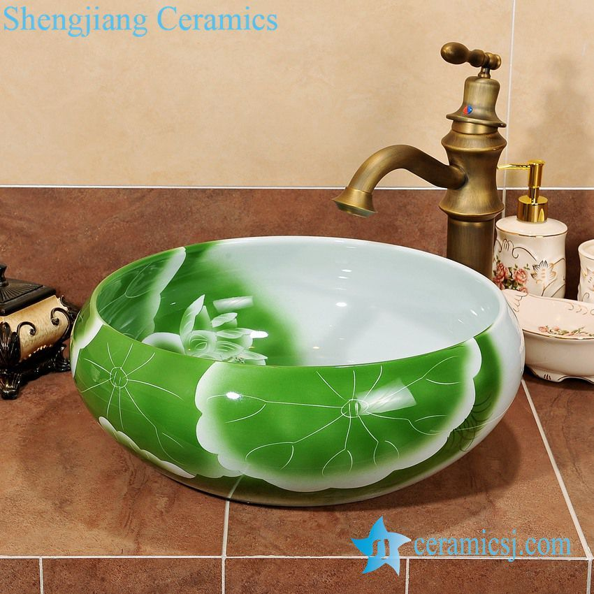 Zy 0061 Green Round Table Top Ceramic Cheap Small Washbasins