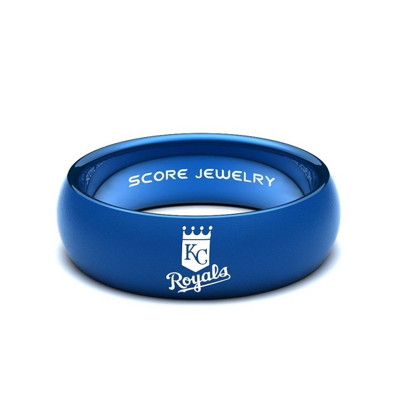 Blue Tungsten Band With Domed Edge Mlb Baseball Kansas City Royals Logo Ring