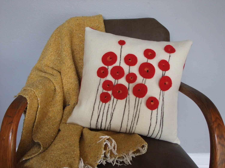 Red poppy wool felt pillow via etsy ideas for the house