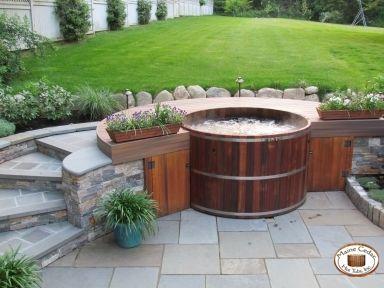 Unique Patio Design using natural cedar hot tub from Maine Cedar ...