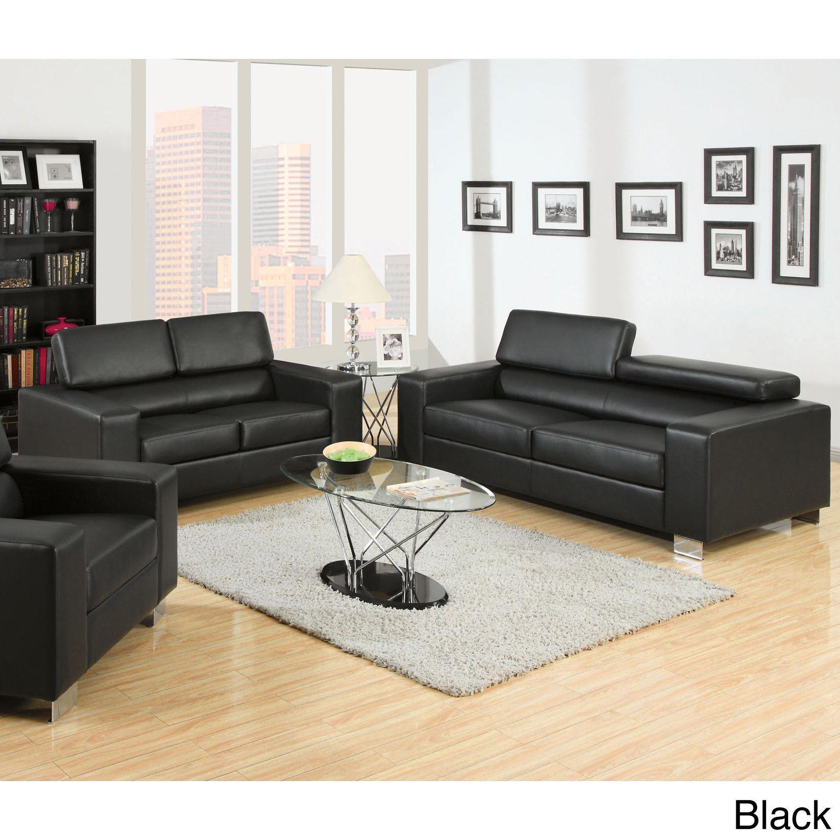 Furniture of America Mazri 2 Piece Bonded Leather Sofa and