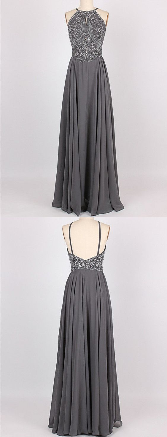 b0a0816b64 A-Line Halter Sleeveless Long Grey Prom Dress with Beading Keyhole ...