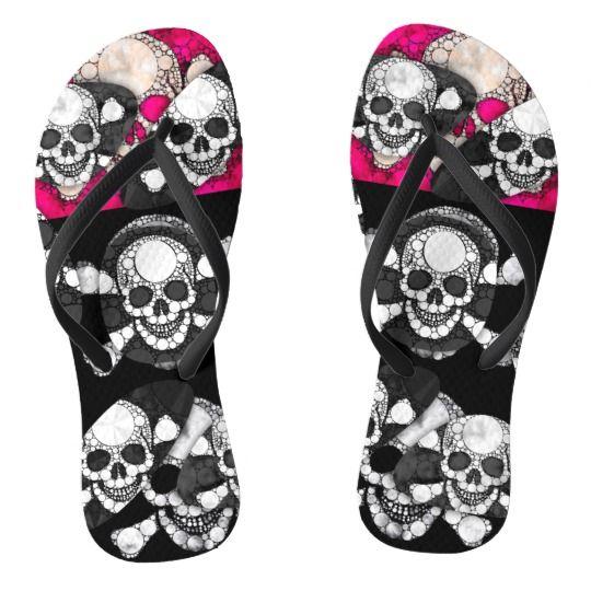 e967b8b4e4f302 Pink Black Skull Bling Pattern Flip Flops