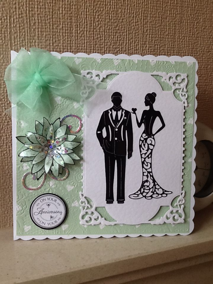 Wedding Card - All essential products for this project can be found on Crafting.co.uk - for all your crafting needs. - Tattered lace George and Olivia dies.