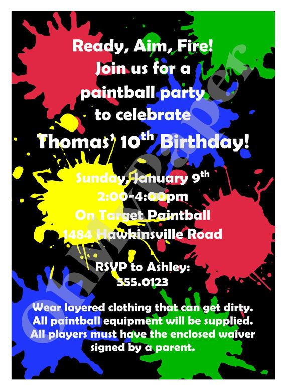 paintball party invitations wording lj s 10th party bash