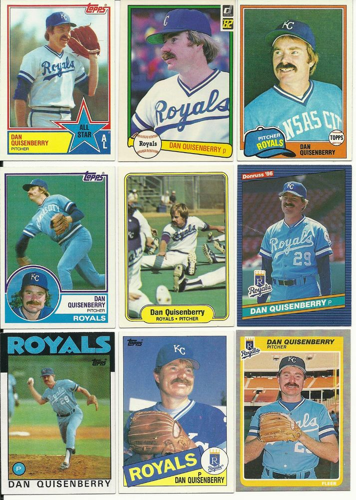 25 Dan Quisenberry Cards Lot All Different Royals Cardinals Baseball Cards Cards Royals Baseball