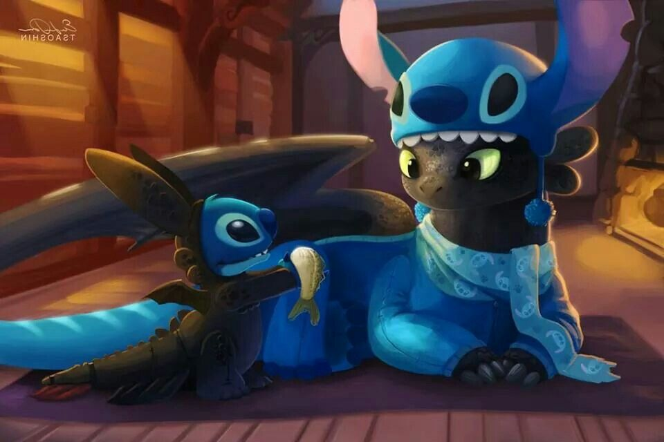 Stitch And Toothless Toothless And Stitch Cute Disney