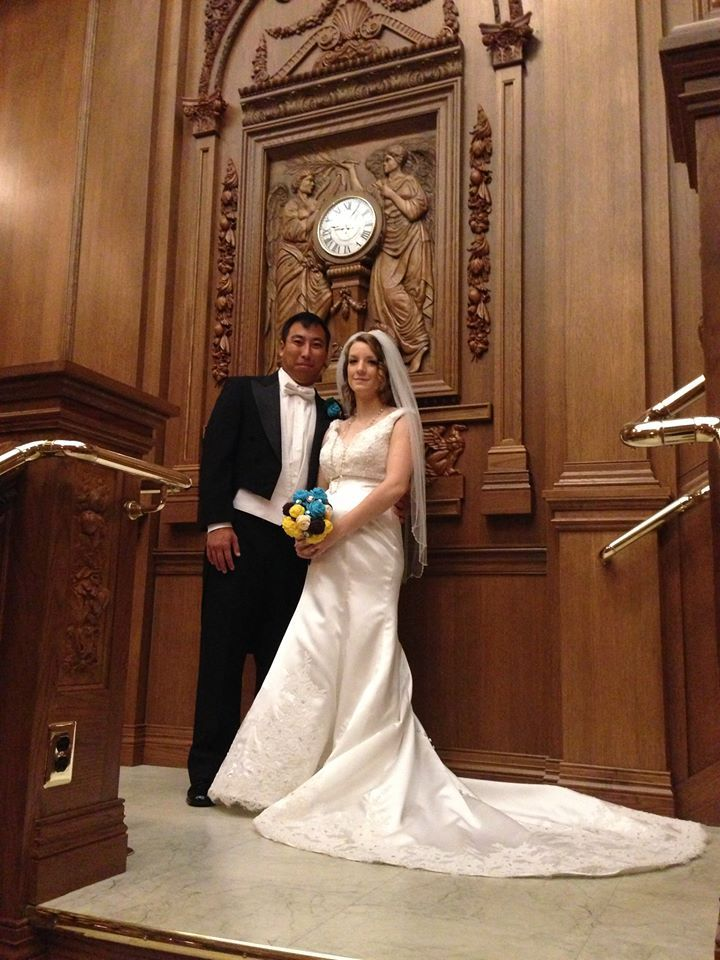 Get married on the grand staircase at the titanic museum for Wedding dresses branson mo