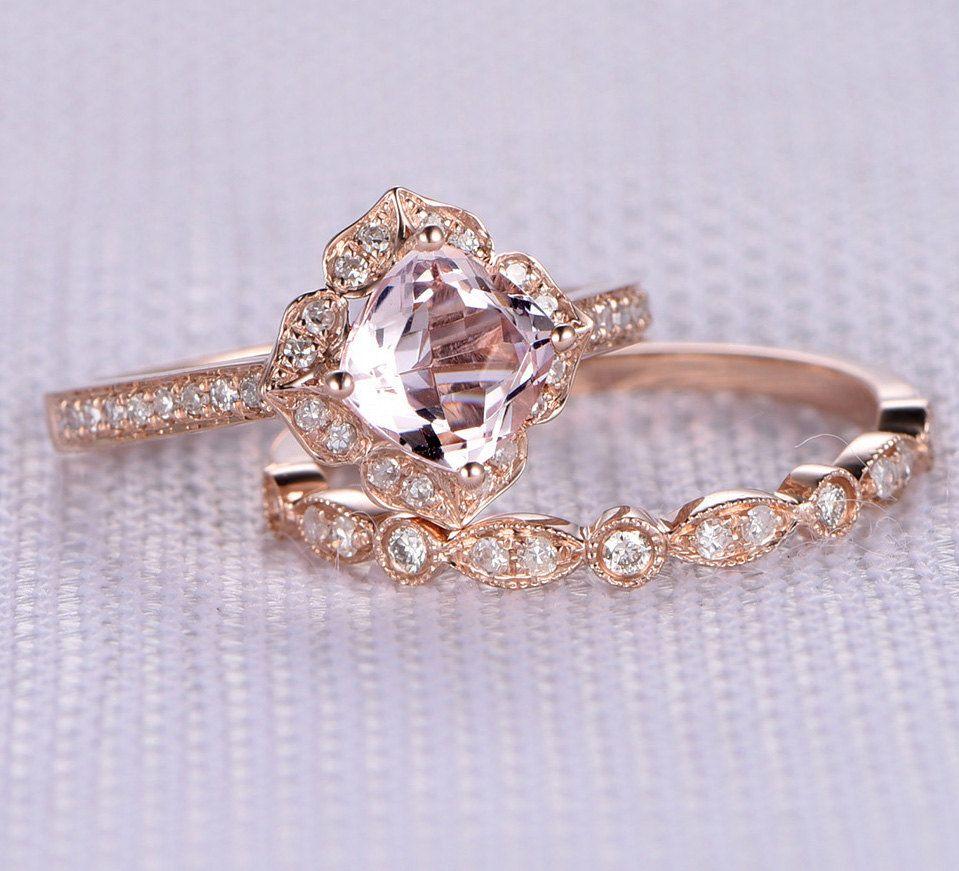 morganite wedding ring set 2pcs 6mm morganite Wedding Ring Set Engagement ring 14k Rose gold Art Deco diamond Matching Band Cushion cut Personalized for her him Custom