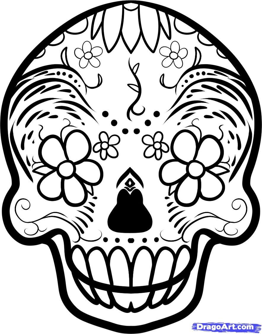 Day Of The Dead Sugar Skull Coloring Pages | Spanish Lessons For ...