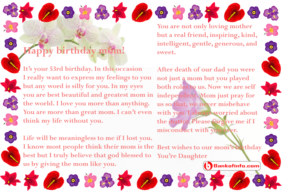 Birthday Letter To Mom From Daughter  Letter