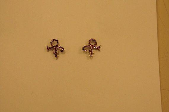 Prince Symbol Earrings With Purple Swarovski Crystals 100