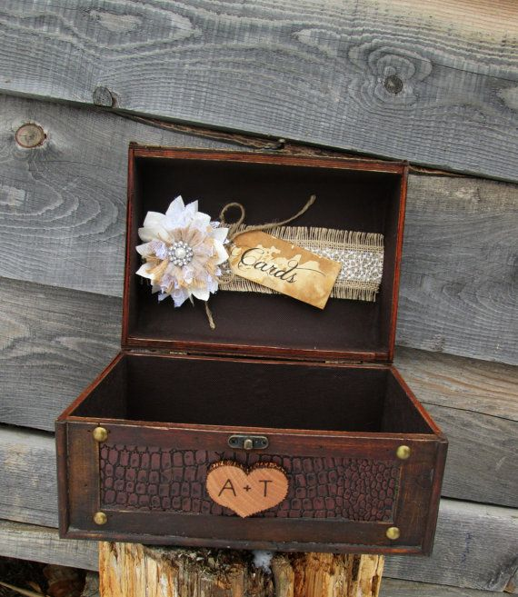 Rustic Wedding Card Box Trunk Holder Burlap Gift Table Country