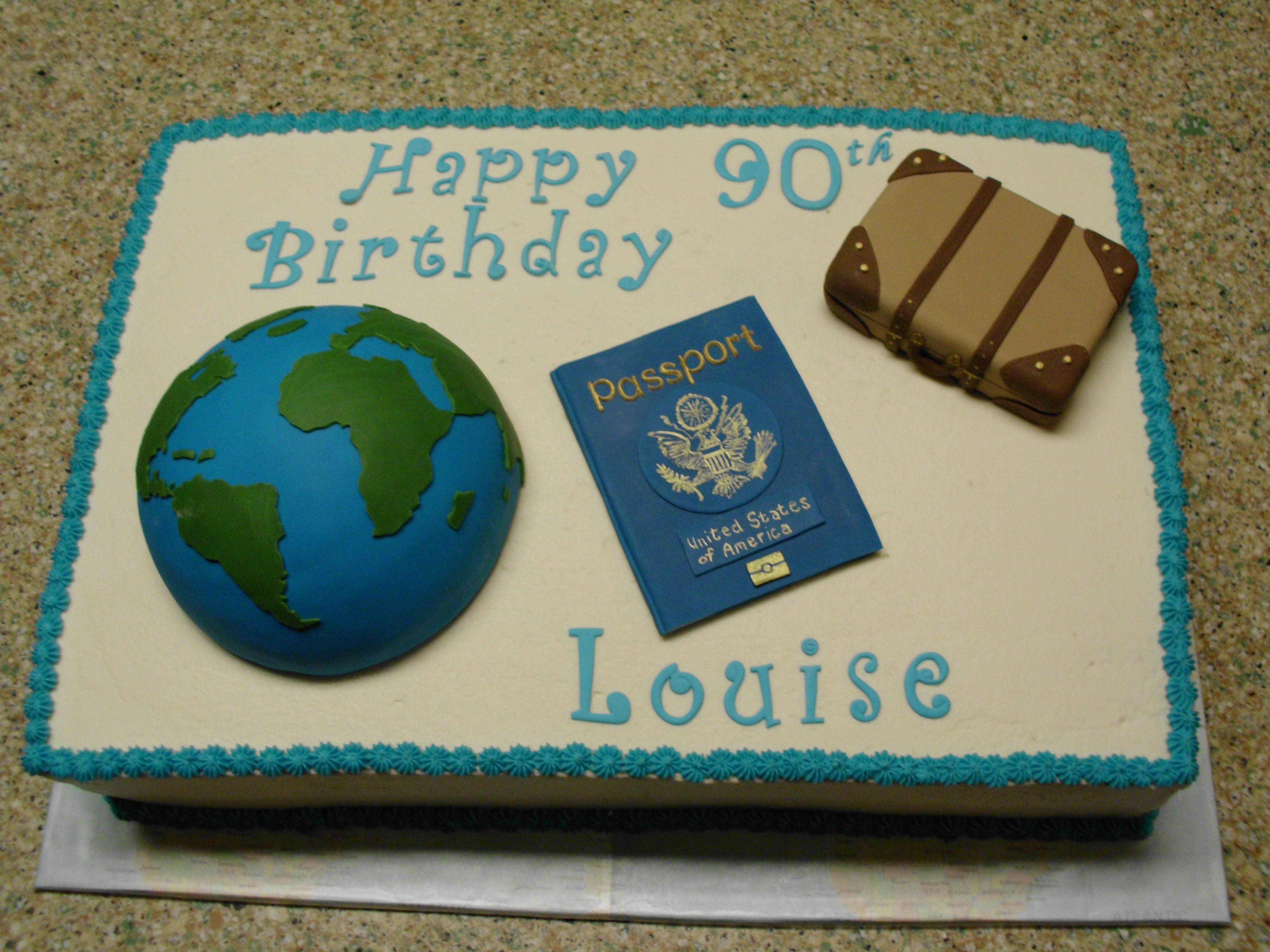 World Traveler Birthday Cake Globe Passport And Suitcase Made From