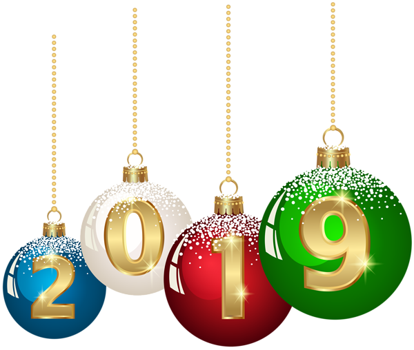 2019 Christmas Balls PNG Clip Art Image Happy new year