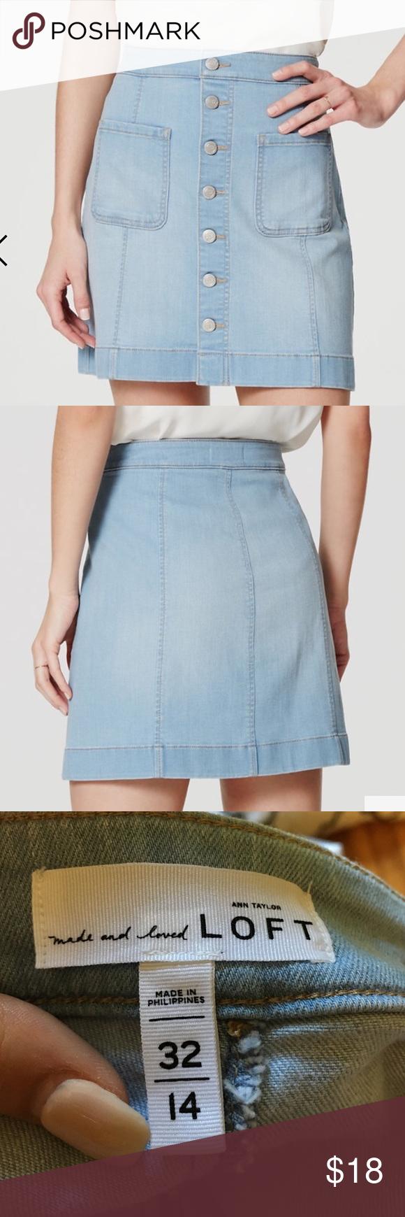 LOFT Patch Pocket Button Down Denim Skirt