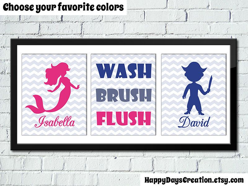 Set Of 3 Bathroom Rules Prints 8x10 Inch, Brother Sister Bathroom Decor,  Mermaid Pirate