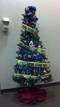 Police Christmas Tree Blue Lights Red Blue Silver