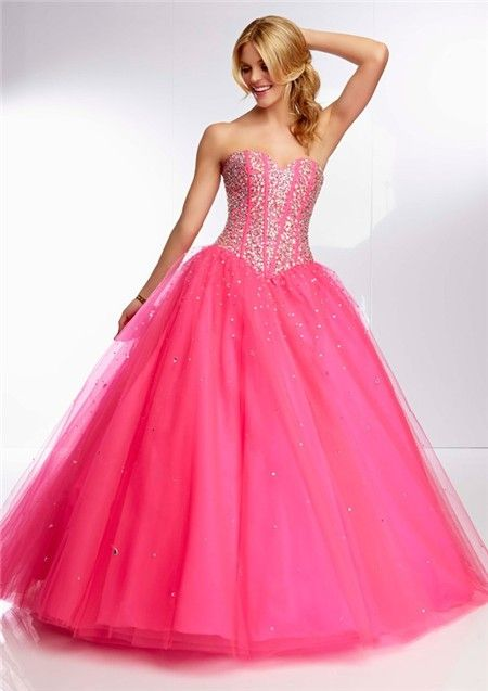 Home » Ball Gown Sweetheart Long Hot Pink Tulle Beaded Boned ...
