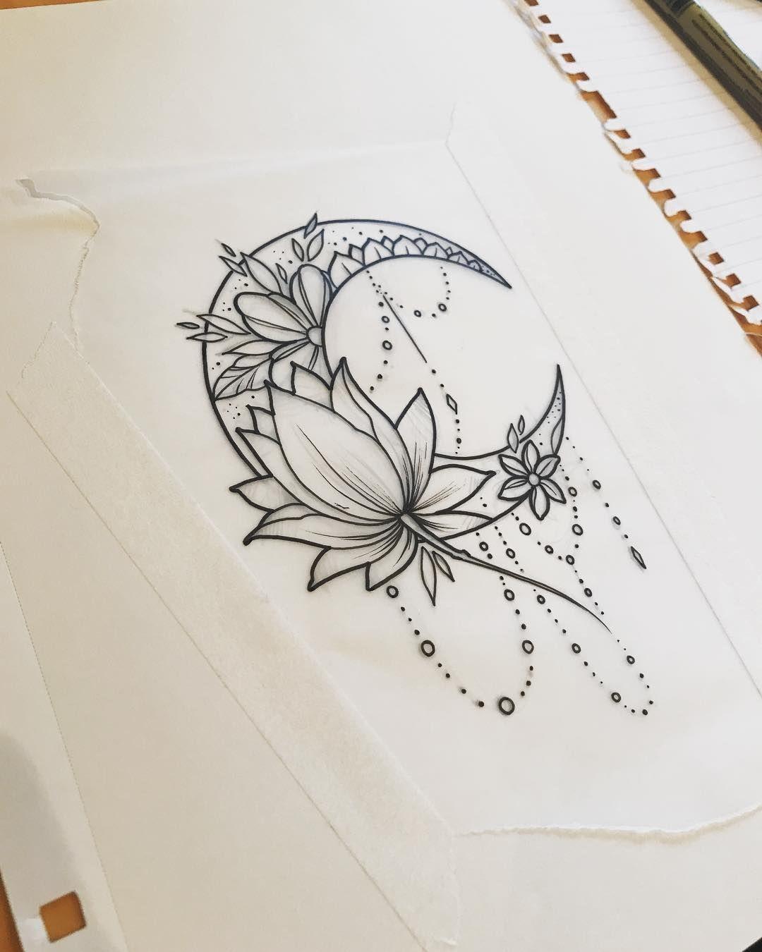 Moon Moontattoo Lotus Lotustattoo Girltattoo Beautytatoos In 2020 Moon Tattoo Designs Flower Tattoo Designs Mandala Tattoo Design