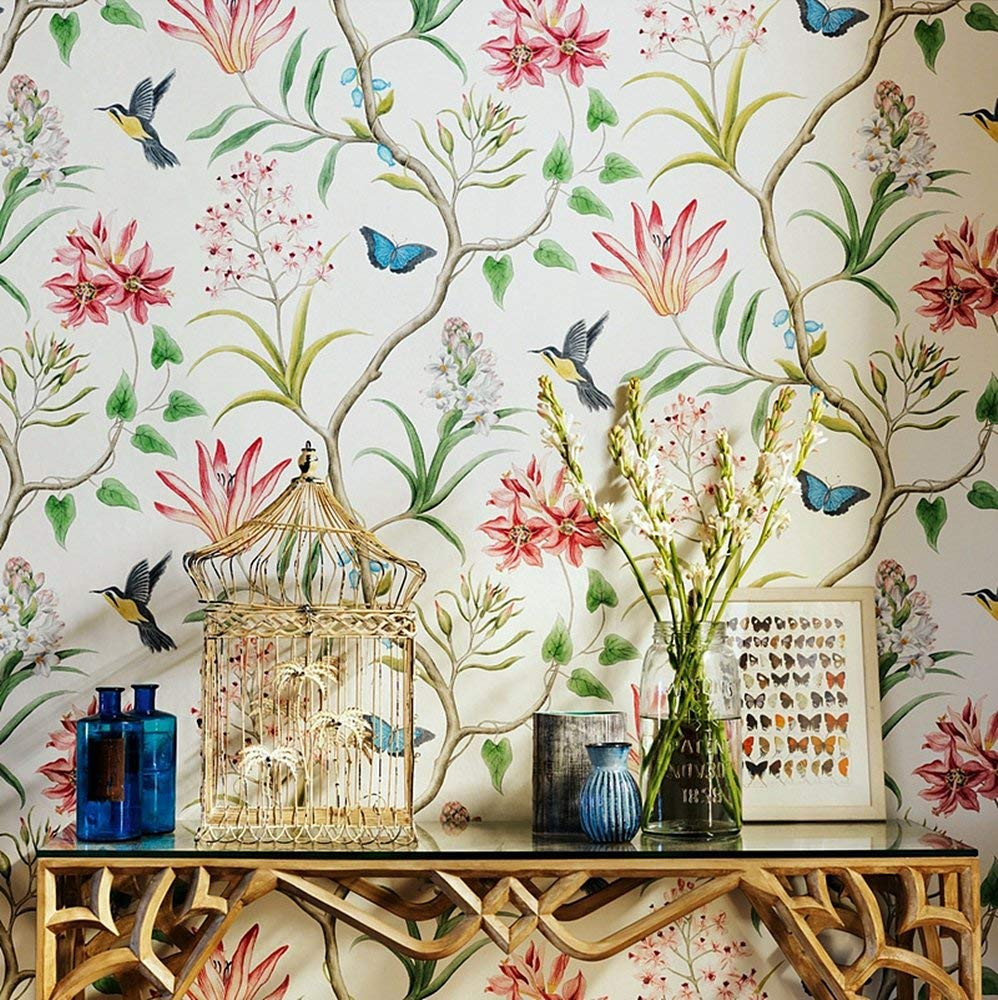 Details About Vintage Floral Bird Wallpaper Roll Self Adhesive Rustic Vintage Contact Paper Vintage Flowers Wallpaper Rustic Wallpaper Wall Wallpaper