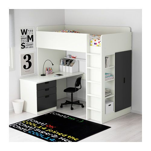 Stuva Loft Bed With 3 Drawers 2 Doors White Black Ikea