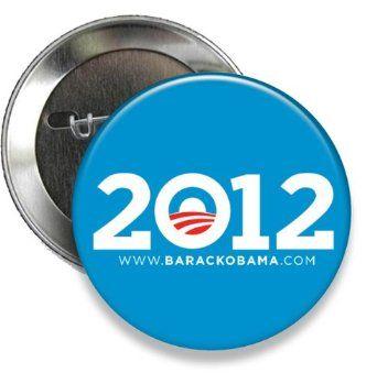 """Blue 2012 Obama Campaign Button- 2 1/4"""" Round"""