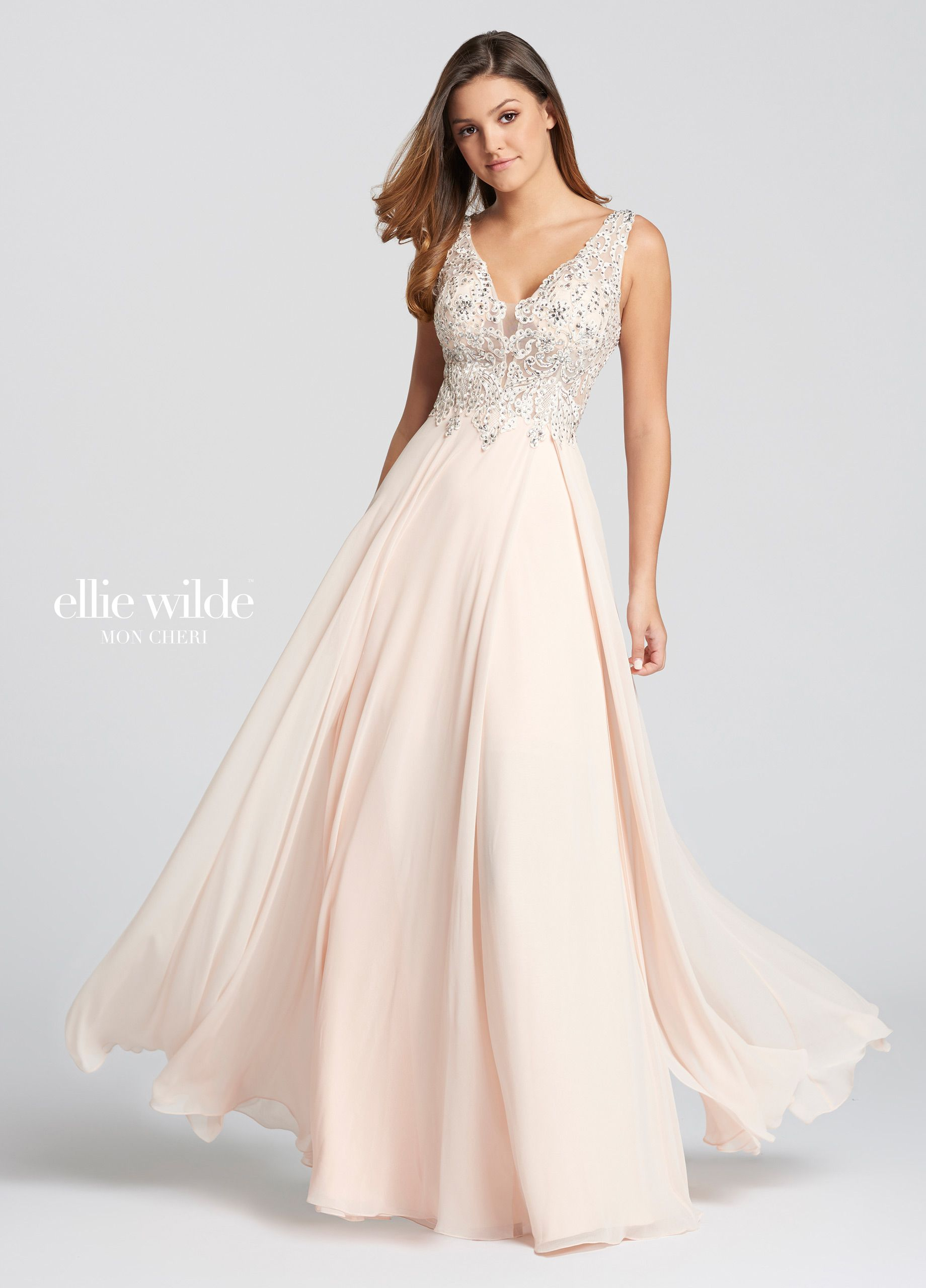 0cd62df22ce Ellie Wilde EW118150 - Sleeveless chiffon and lace slim A-line dress  featuring plunging V-neckline with tonal illusion panel and scoop back.  Bodice is made ...