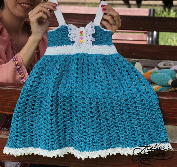 "EN: Crochet Pattern for ""Rainbow Baby"" crochet dress. Crochet tutorial with step-by-step pictures for a colorful ""Rainbow Baby"" dress made of cotton.  Sizes: Size 1 - newborn up to 6 months old: 45 cm at the chest and 35 cm long / 17.7 inches chest with 13.7 inches long without the straps Size 2 - 6-12 months old : 50 cm chest with 35 cm long / 19.6 inches with 13.9 inches long without the straps Size 3 - 1-2 years old : 55 cm chest with 38 cm long / 21.6 inches chest with 14.9..."