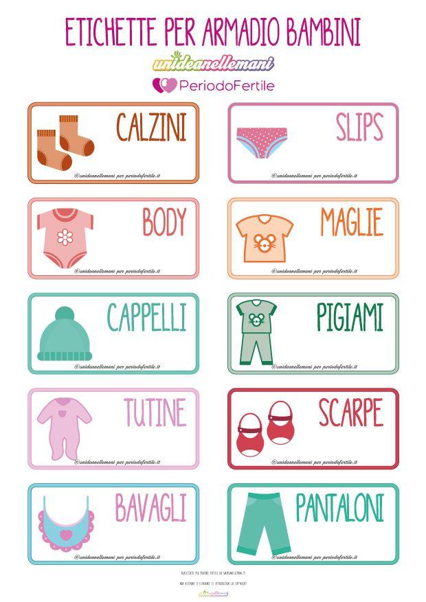 Idea per organizzare l 39 armadio dei bimbi 10 etichette da for Stickers armadi bambini