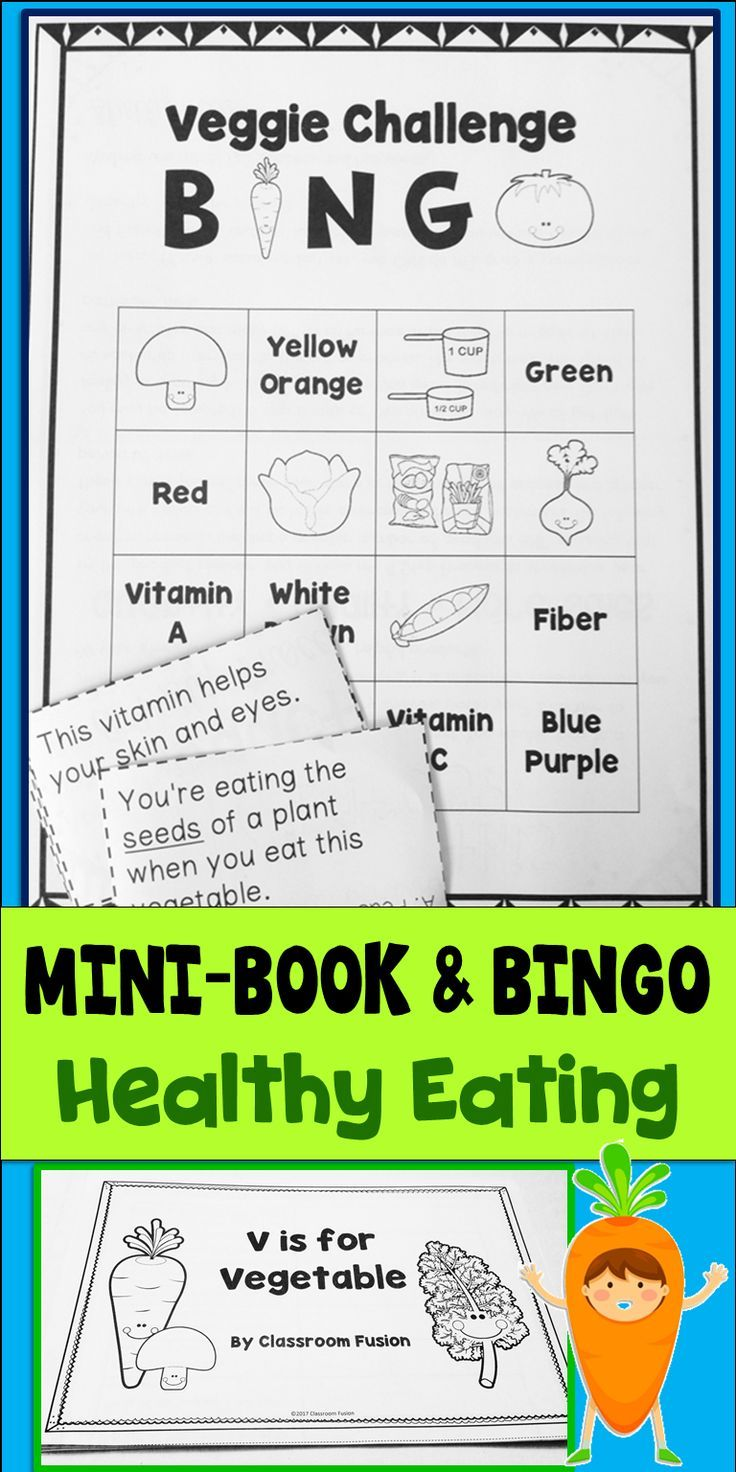 Healthy eating bingo and minibook great to add to your