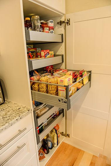IKEA pull out pantry Ramsjo white cabinets. White ramsjo cabinets kitchen remodel