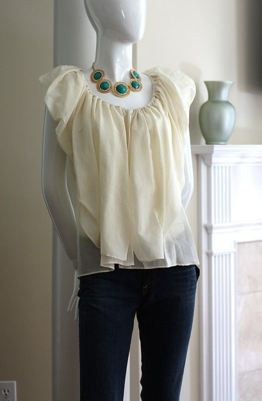 2b. RYCH Blouse Size Small NWT Drape Front Top Ivory Silk Blend