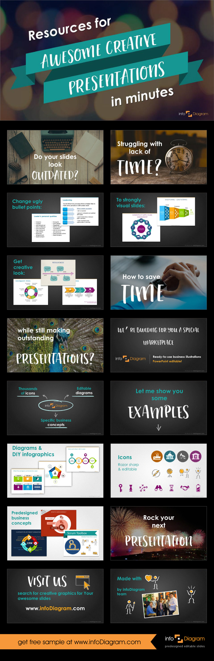 Resources For Awesome Creative Presentations In Minutes Flat Style - Awesome replace powerpoint template concept