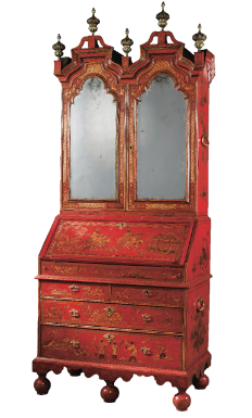 Image result for A QUEEN ANNE RED AND GILT-JAPANNED BUREAU-CABINET