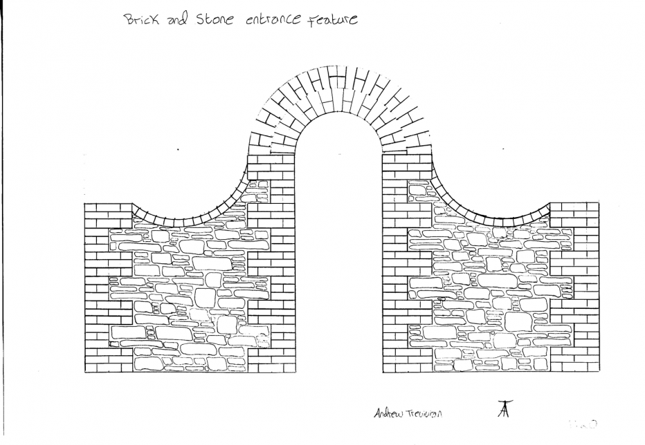 Flowing brick and stone feature wall | www.southwest-stonecraft.co.uk