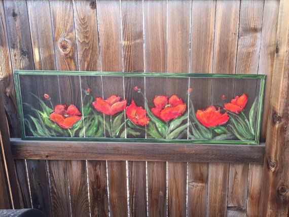 Old recycled window screen red poppy wall art red poppy painting home decor flower poppies - Exterior painting process decoration ...