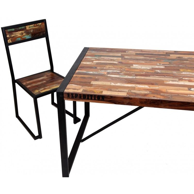 Mesa de comedor de dise o loft con estilo industrial con for Mesas de comedor de madera de diseno